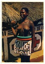 S Africa WOMAN in TRADITIONAL DRESS Ndebele FRAU in TRACHT * 60s Ethnic Nude PC