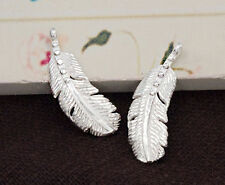 925 Sterling Silver 2 Feather Pendants 7x18 mm.