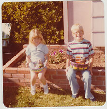 Square Vintage 70s PHOTO Little Blond Girl & Young Boy w/ Easter Baskets