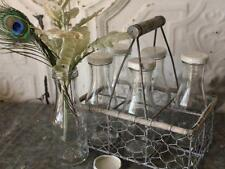 Metal Basket with 6 Bottles Shabby Chic Vase Vintage Chicken Wire