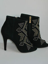 NEW STUDDED BLACK SUEDE LEATHER PEEP TOE ANKLE BOOTS SIZE UK 3, EU 36