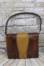 Vintage 1950s  Genuine Hornback Crocodile Shoulder Bag Handbag Adjustable Strap