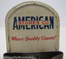 Old American Store Co Tin Litho Advertising Tool Broom Holder Sign Sml Wall Mnt