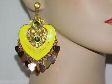 Valentine's Day NEON YELLOW CHANDELIER HEART EARRINGS WITH ENAMELED,RHINESTONE