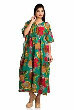 Long Dress Caftan Kaftan Maternity Casual Green Floral Women Plus Size Indian