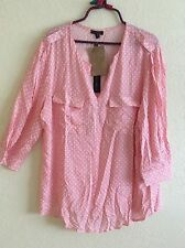 Willi Smith Peasant Top Blouse Shirt Tunic Boho Pink Plus Size 1X Geo NEW #V0816