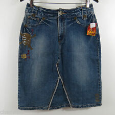 Disney Store Pirates of the Caribbean Denim Painted Skull Skirt Size 6 NWT