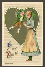 WINSCH POSTCARD:  BE MY VALENTINE - FLYING LEPRECHAUN - Unsigned SCHMUCKER, 1910