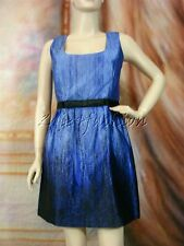 $2005 New ANDREW GN Black Blue Art Print Bow Silk A Line Flared Dress 8 42