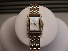 Ladies Womens Watch Luxe Diamond Gold Tone Mother of Pearl Rhinestone Gorgeous