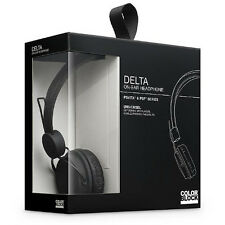 Delta over head on ear headphone earphone built in mic & volume control black