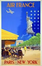 Affiche AIR FRANCE  - Paris New York - V.Guerra 1951