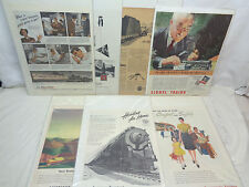 (7) Original Vintage Old Train Advertisement Posters From 1942 to 1950