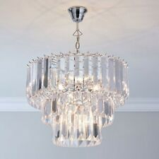 3-Tier Large Crystal Acrylic Chatsworth Prisms Jewels 5-Light Pendant Chandelier