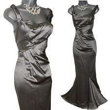 KAREN MILLEN Grey Silky Satin Full Length Ball Gown Prom Fishtail Dress 8 UK