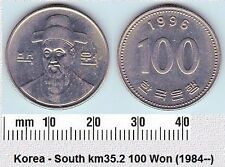 SOUTH KOREA 100 WON AUNC COIN # 2138