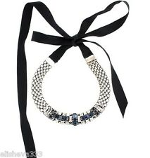$1,500 Lanvin Paris Choker Necklace Blue Silver Made in France! Ribbon