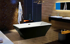 "67"" Freestanding Black Acrylic Modern Shower Spa Bathroom Bath Shower Tub Soaker"