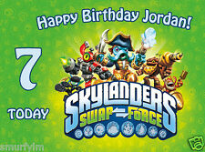 SKYLANDERS SWAP FORCE CAKE TOPPER PARTY PERSONALISED  ICING SUGAR A4 TODAY