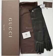 NWT Auth GUCCI INTERLOCKING G Nappa Leather Silk Lined ELBOW LONG Gloves 7