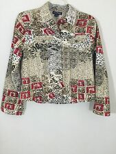 Womens Shirt Candy Couture Brown Floral Blazer Jacket Sz Extra Large XL Sequins