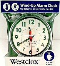 Westclox #15550 Mechanical Wind-Up Alarm Clock with Loud Bell Alarm New White