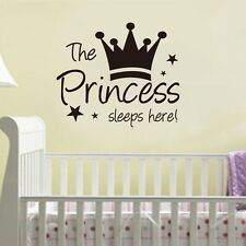 Princess Sleep Here Wall Decal Stickers Decor Vinyl DIY home Kids Girl Art Mural
