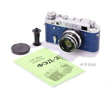 FED 2 Metal Blue LEICA Rangefinder Camera Industar-61 Lens CLA WARRANTY MANUAL
