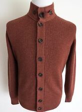 $2530 BRUNELLO CUCINELLI Rust 2Ply English Rib Cashmere Cardigan Sweater 48 Euro