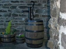 40 gallon oak barrel water butt & working hand pump and painted bands