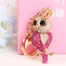 Lovely Rose Red Owl Crown Pendant Crystal Purse HandBag Key Ring Chain Cute Gift