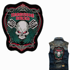 Hardcore biker skull backpatch xl 29x24cm old school rockabilly kérosène MC