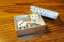"Artic White & Black 12mm Lucky ""7"" Dice Cuff links 1 Pair (Two) Silver Plated"