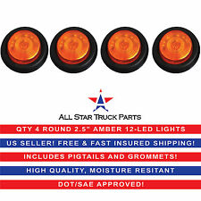 "QTY 4 - 2.5"" Round Side Marker Clearance Light 12 LED Amber Grommet Pigtail Kit"