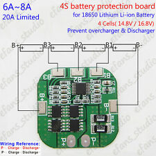 4S 6A~8A BMS Protection PCB Board for 18650 Lithium Li-ion Battery Cell 14.8V