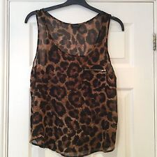 TopShop Leopard Print Sleeveless Top with Zipped Pocket - Size 12