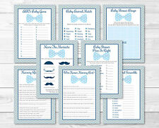 Little Man Bow Tie Baby Shower Games Pack - 8 Printable Games