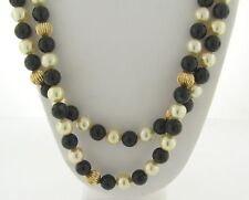 Beautiful Vintage 14k Gold Beads, Black Onyx, Cultured Pearl 35 Inch Necklace