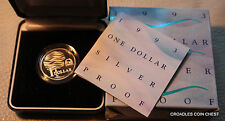 1993  SILVER PROOF $1 DOLLAR LANDCARE  DOLLAR COIN IN BOX HIGH CV