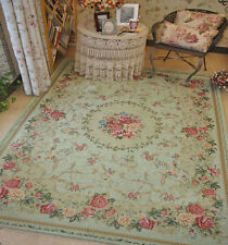 Victoria Style Country Floral Floor Mat Rug Carpet Size 200X140cm Light Green