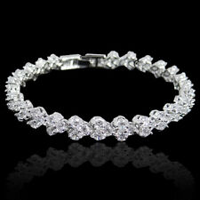 Wedding Bridal Tennis Bracelet Chain Bangle Zircon Clear Austrian Crystal Women
