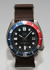 SEIKO 7002-700A Vintage Diver Watch Classic 6105 Dial Pepsi Automatic Leather