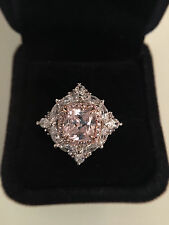 5CT Lab Created Pink Cushion Cut Diamond Ring Sterling Silver Platinum Plated