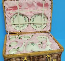 Miniature Tea Set Pink Floral Green Rose White with Basket