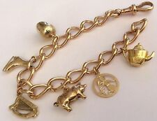 Stunning Ladies Heavy Antique 9ct Gold Superb Quality Charm Bracelet & Charms