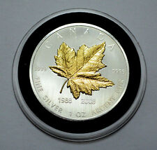 2008 Canadian Maple Leaf 20th Ann.1Troy Oz.9999 Silver Coin,24K Gold Gilded Leaf
