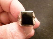 VINTAGE  STERLING SILVER (925) MEN'S RING WITH UNKNOWN  BLACK STONE SIZE 7.0