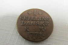 Vintage Antique 1771 Danske Denmark One (1) SKilling Copper Coin LOOK!!
