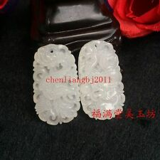 2pc Beautiful Exquisite Chinese White Natural Jade Pendant Couple Dragon Phoenix