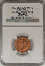 1864 F-113/537A GENERAL MCPHERSON-COPPER PATRIOTIC CWT, R-9/10 NGC MS-64 RD